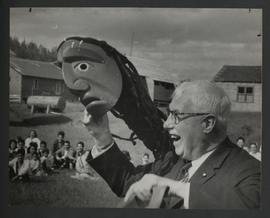 [Lt. Gov. George Pearkes with tribal mask]