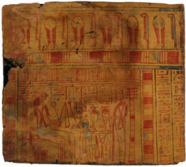 Wooden Egyptian Block with Hieroglyphs