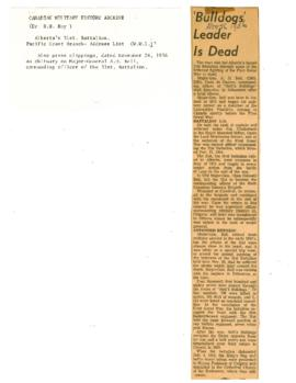 Address list of battalion men; obituary on Maj.-Gen. A.H. Bell, Commanding Officer. 1956.