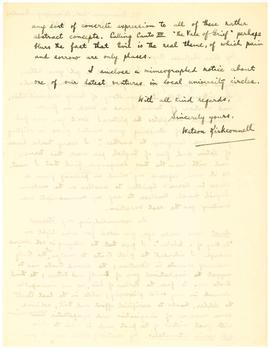 Holograph letter signed, to Professor [George R.] Noyes, verso