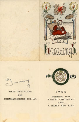 Christmas card, First Battalion, The Canadian Scottish Reg. (AF)