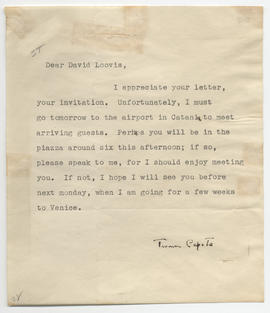 Typed, signed letter from Truman Capote to David Loovis, declining an invitation.