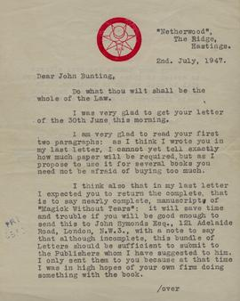 Typed, signed letter from Aleister Crowley to Mr. Bunting re the publication of Crowley's manuscr...