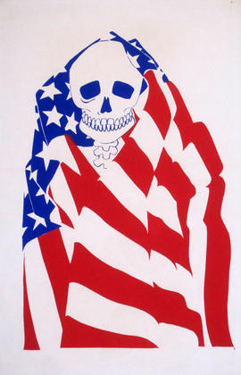 Untitled, Artist Unknown (Death Head Wrapped in American Flag)