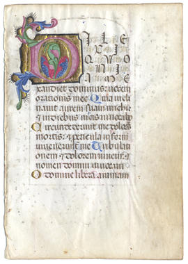 Illuminated Leaf from a Medieval Book of Hours
