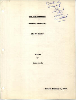 "The High Chaparral - ""Ortega's rebellion"", title page"