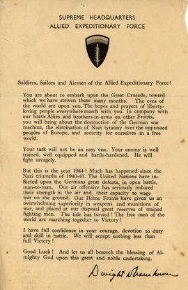 Dwight D. Eisenhower's D-Day statement to soldiers, sailor, and airmen of the Allied Expeditionar...