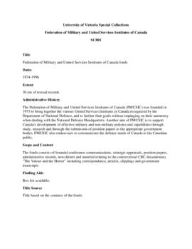 Federation of Military and United Services Institutes of Canada fonds