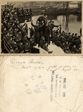 Picture postcard, soldiers of the Canadian Scottish Regiment leaving for England