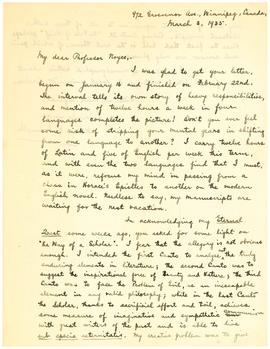 Holograph letter signed, to Professor [George R.] Noyes, recto